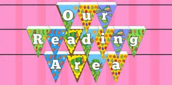themed reading area display bunting to support teaching on the