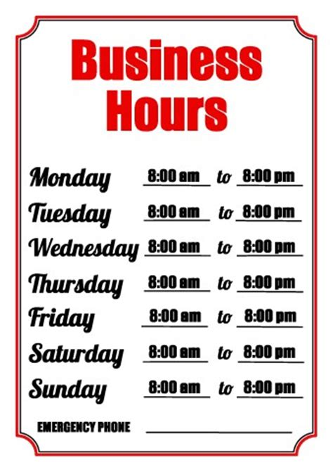 4 best images of free printable business hours sign 4 best images of free printable business hours sign