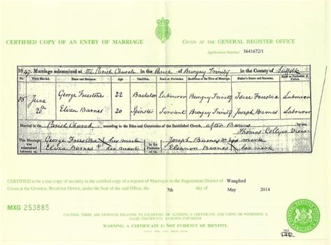 Suffolk County Marriage Records George And Eliza Barnes Freestone Marriage Certificate