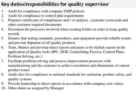 quality supervisor description