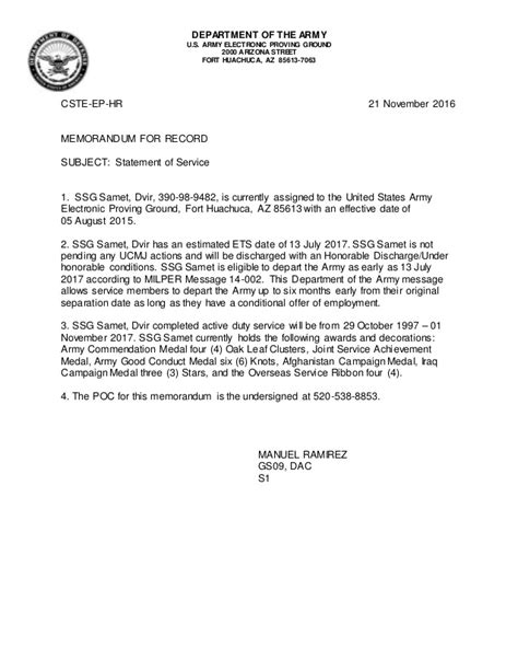 Army Statement Of Service Letter Exle army statement of service