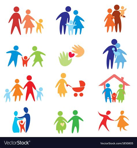 Happy Family Icons Royalty Free Vector Image Vectorstock Ancestry Stock Images Royalty Free Images Vectors