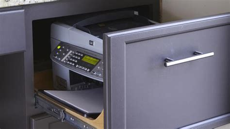 hidden printer cabinet hide your printer in a desk drawer or file cabinet