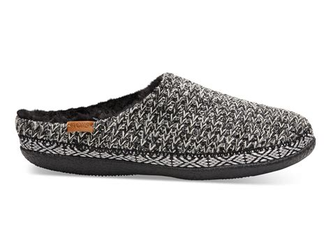 slipper toms black and white sweater knit s slippers toms 174