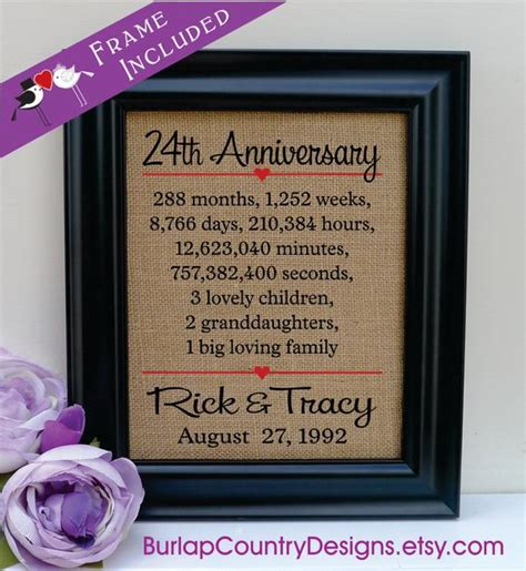 24th anniversary 24th wedding anniversary gift 24th