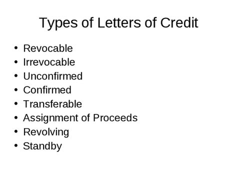 Letter Of Credit Unconfirmed Types Of Letters Of Credit Docslide