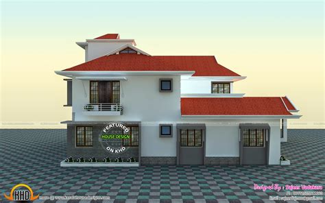 house  side view rendering kerala home design