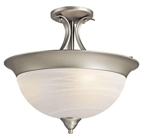 kichler brushed nickel dover 3 light semi flush indoor