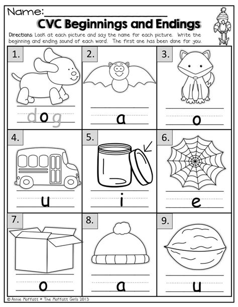 preschool printable language activities beginning and ending sounds for cvc words kindergarten