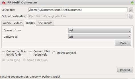 format audio ubuntu ff multi converter convert audio videos images documents