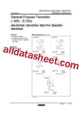 transistor a933 datasheet 2sa933as datasheet pdf rohm