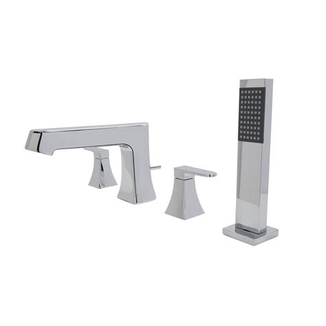 deck mount bathtub faucet with sprayer anzzi cove series 2 handle deck mount roman tub faucet