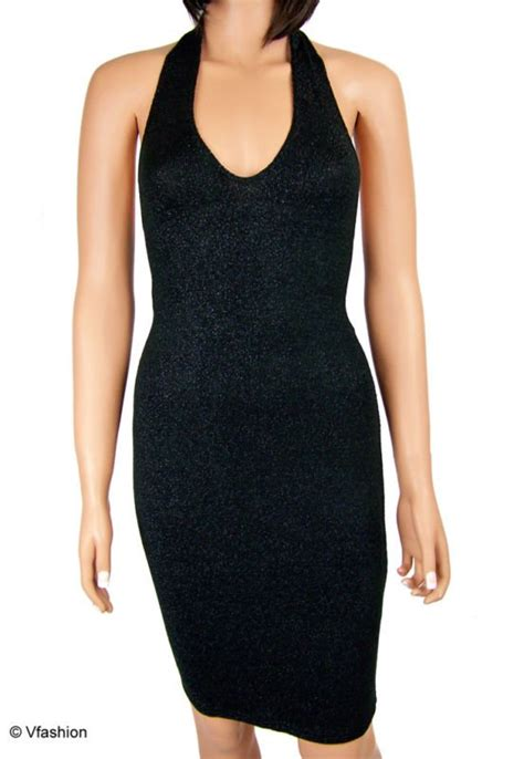 Preloved Hardware Dress Backless black halterneck glittery backless dress uk10 12 bnwt