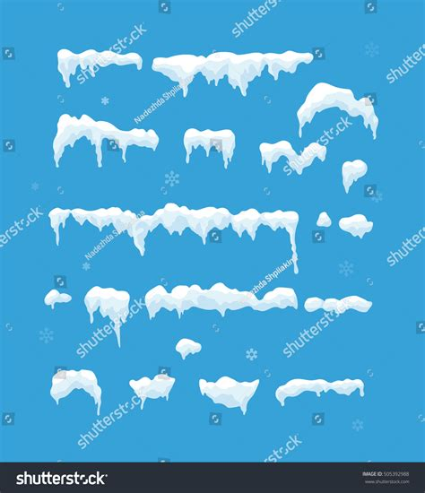 Set Snowy set isolated snow cap snowy elements stock vector 505392988