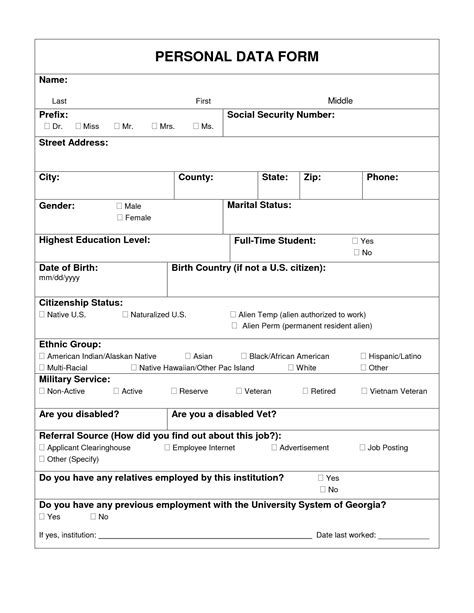 new employee personal information form ninja