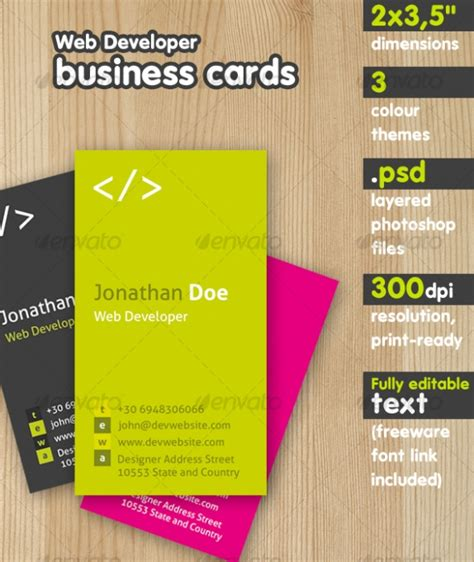 Horizontal Business Card Size Template by 3 5 Inches