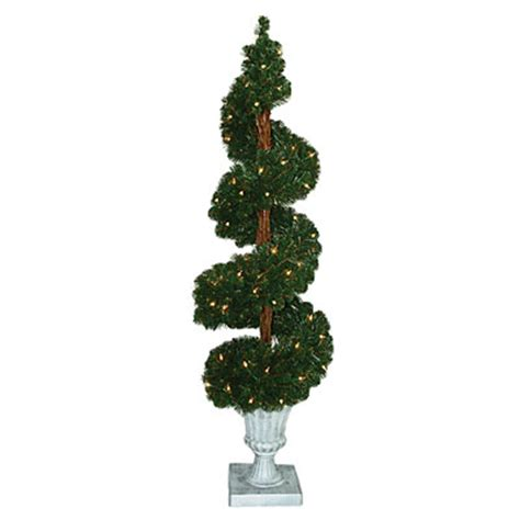 5 pre lit artificial spiral topiary urn tree with clear