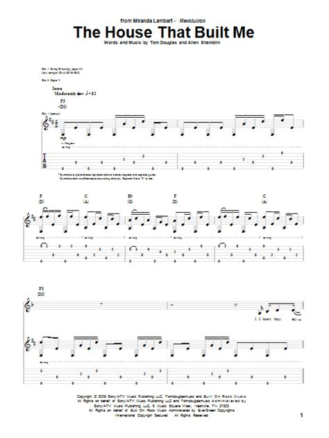 the house that built me music video the house that built me guitar tab by miranda lambert guitar tab 77627