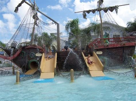 the pool features a life sized pirate ship that is sure to