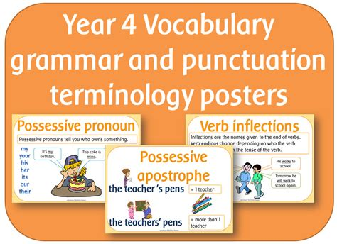 grammar and punctuation year 1407140728 year 4 vocabulary grammar and punctuation terminology posters by highwaystar teaching