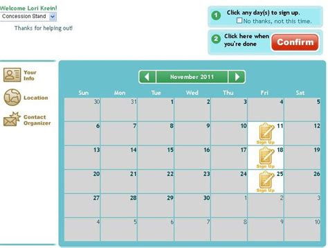 carpool calendar template free and easy concession stand sign up sheet templates