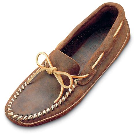 mens leather moccasin slippers s minnetonka moccasins ruff leather bottom