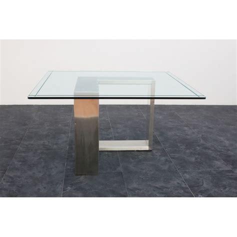 tavolo acciaio tavolo acciaio e vetro anni 70 135x136x71h marco polo