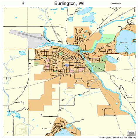 burlington map burlington wisconsin map 5511200