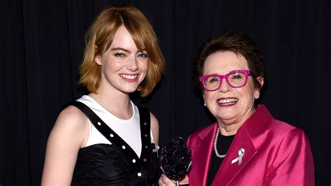 emma stone billie jean king emma stone reflects on hitting clunkers during a tennis