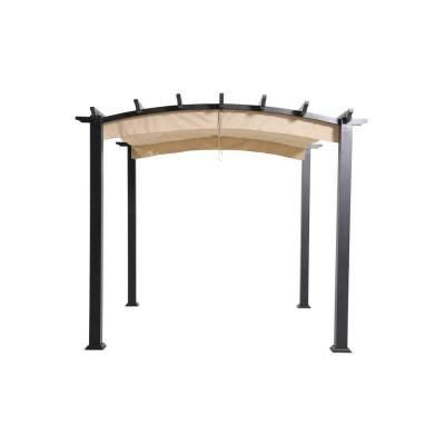 hton bay steel pergola hton bay 9 ft x 9 ft steel and aluminum arched pergola with retractable canopy home bays