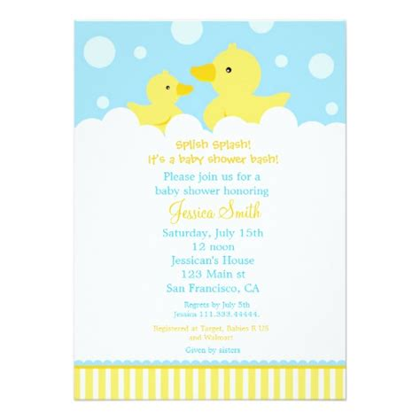 Rubber Ducky Duck Baby Shower Invitation For Girl Zazzle Rubber Ducky Baby Shower Invitations Template Free