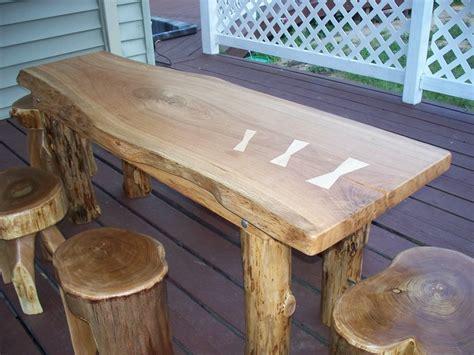 rustic log slab child size farm table stools