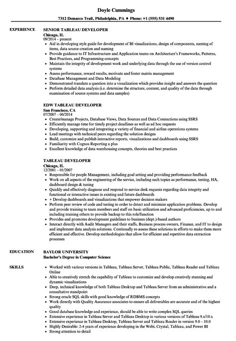 Tableau Reporting Resume tableau developer resume sles velvet