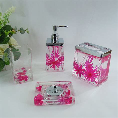 Pink And Blue Bathroom Accessories Pink Floral Acrylic Bath Accessory Sets H4006 Wholesale Faucet E Commerce