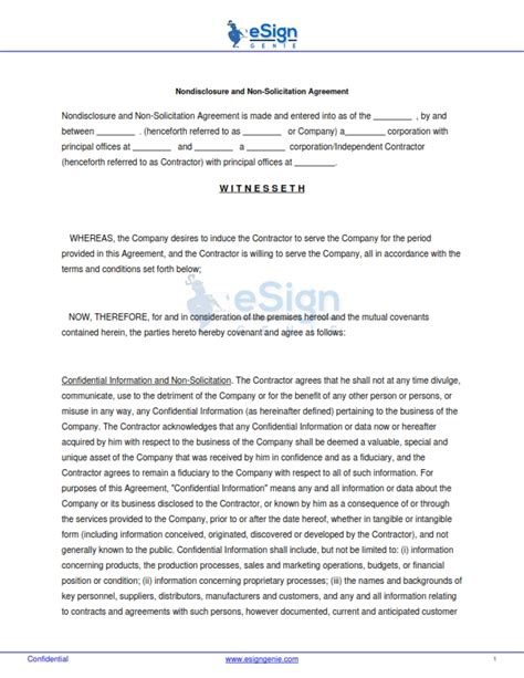non solicitation agreement template template esign genie