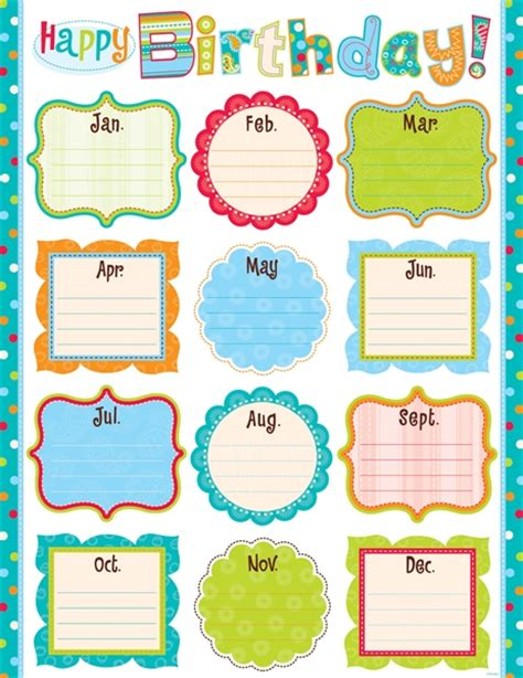 Free Printable Birthday Chart Templates   Calendar