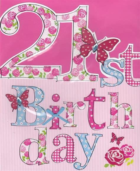 Handmade 21 Birthday Card - finished floral 21st birthday card large luxury