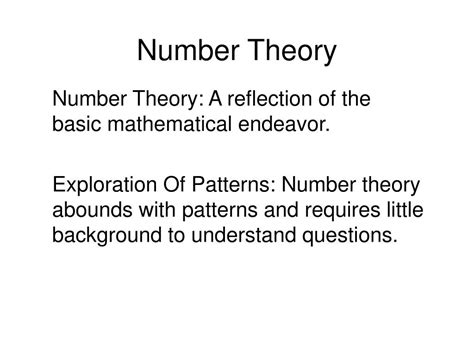 number pattern theory ppt number theory powerpoint presentation id 37638