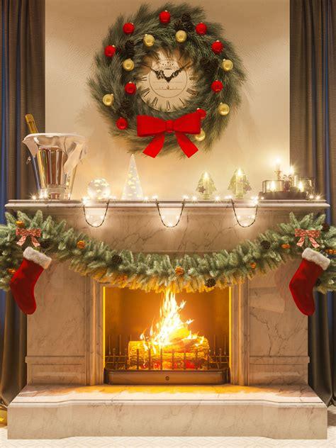 warm christmas fireplace scene retina ipad wallpaper