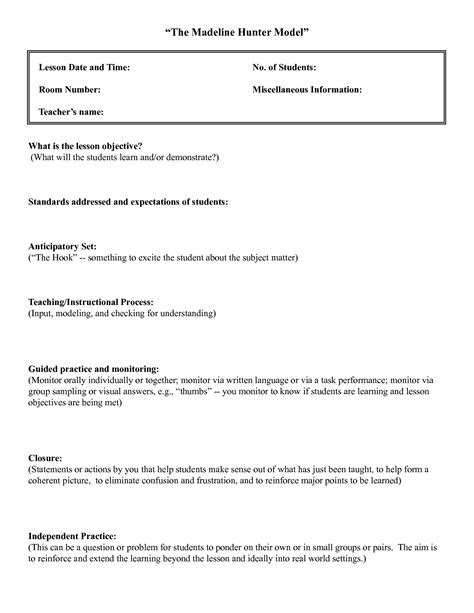 madeline hunter lesson plan template lisamaurodesign