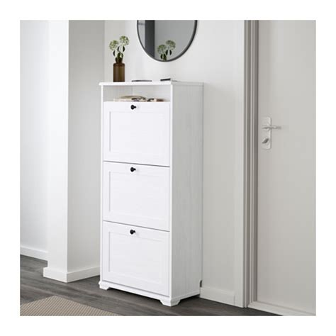 shoe armoire brusali shoe cabinet with 3 compartments white 61x130 cm