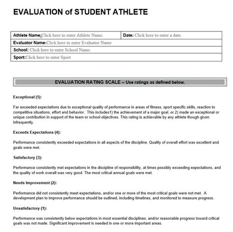 sports evaluation form template evaluation of student athlete athletic performance