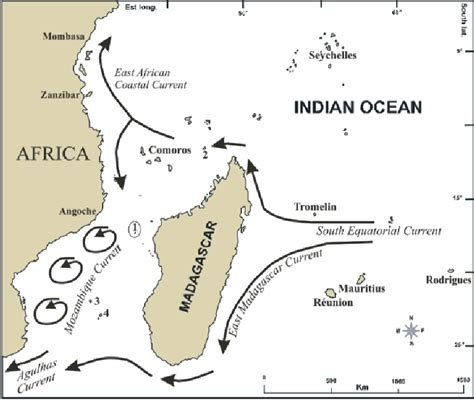 indian currents map map of the southwest indian including the location
