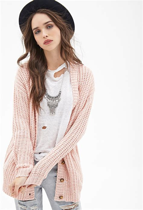 knitting pattern long line cardigan lyst forever 21 marled knit longline cardigan in pink