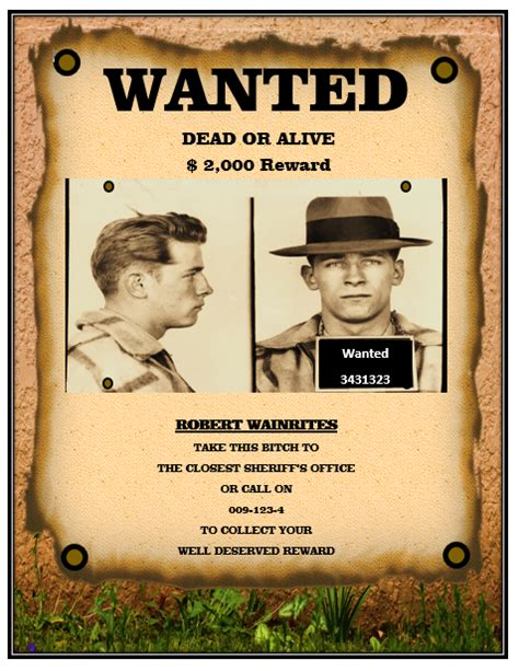 13 Free Wanted Poster Templates Printable Docs Microsoft Word Templates Most Wanted Poster Template