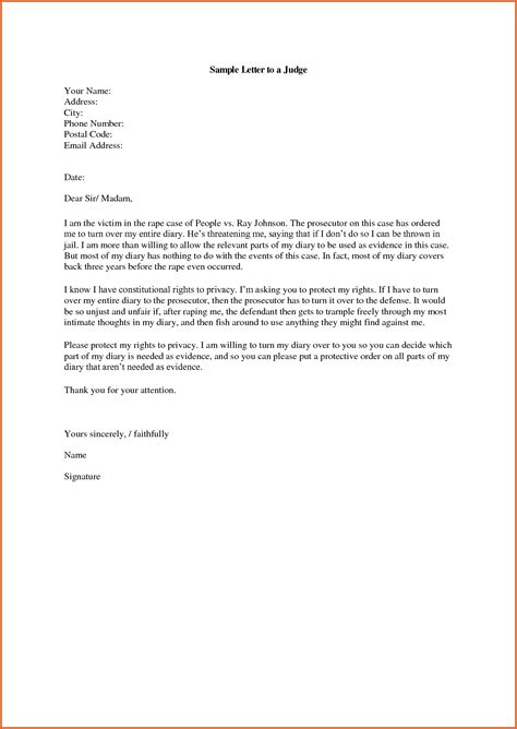 Business Letter Format To Judge character letter for judge resume name