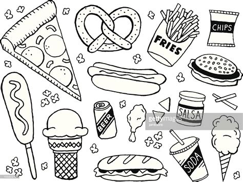 doodle food vector free junk food doodles vector getty images
