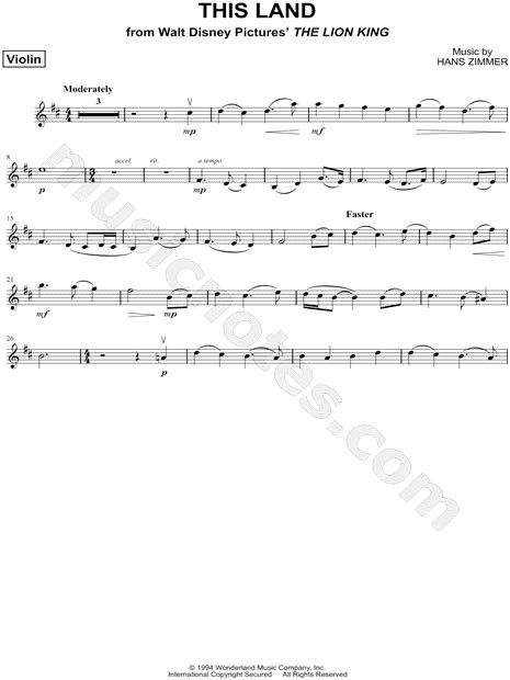 """This Land - Violin"" from 'The Lion King' Sheet Music"