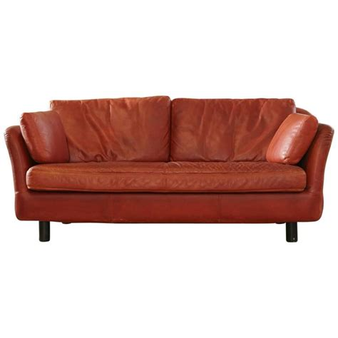Indian Red Leather Two Seat Sofa By Dux Sweden At 1stdibs Leather Sofas In India