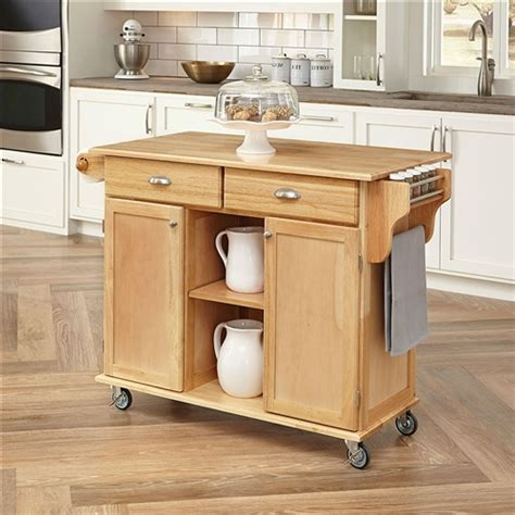 kitchen island casters natural wood finish kitchen island cart with locking